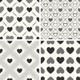 Heart shape vector seamless patterns. Black and. White colors. Endless texture can be used for printing onto fabric, paper or scrap booking. Valentines day stock illustration