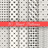 10 Heart shape vector seamless patterns. Black and stock illustration