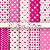Heart shape vector seamless patterns. Black and Stock Images