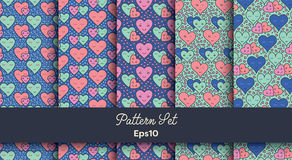 Heart shape vector seamless patterns Royalty Free Stock Images