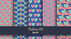 Heart shape vector seamless patterns Stock Image