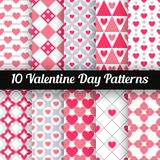 Heart shape vector seamless patterns. Pink color Stock Photography