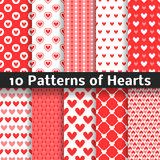 Heart shape vector seamless patterns. Red color. 10 Heart shape vector seamless patterns. Red color. Endless texture can be used for printing onto fabric and stock illustration