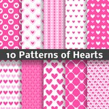 Heart shape vector seamless patterns (tiling). 10 Heart shape vector seamless patterns (tiling). Pink color. Endless texture can be used for printing onto fabric stock illustration