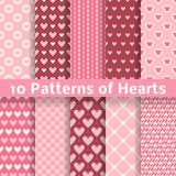 Heart shape vector seamless patterns (tiling) Royalty Free Stock Image
