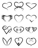 Heart shape vector set Royalty Free Stock Images