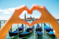 Heart shape on Venice city background Royalty Free Stock Photography
