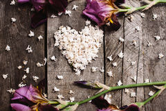 Heart shape of white lilac flowers on wood table Royalty Free Stock Photography