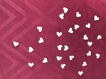 "Heart shape white papers on square pattern pink fabric, `valentine`s day"" concept stock photography"