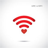Heart shape and wifi sign. Happy valentine 's day background. Royalty Free Stock Photography