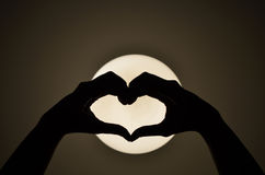 Heart shape woman hand making on the light Royalty Free Stock Photos
