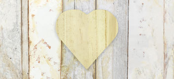 Heart shape on wood planks grunge texture background Royalty Free Stock Image
