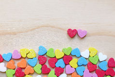 Heart shape on wooden background Royalty Free Stock Photo