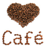 A heart shape with the word Cafe created with coffee beans Stock Photos