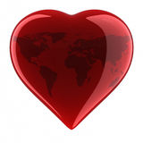 Heart Shape with World Map Stock Photos