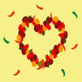 Heart shape wreath from berries with chili pepper vector illustration