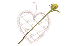 Heart shape with yellow rose arrow Stock Photography