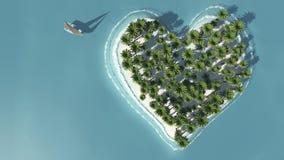 Heart-shaped взгляд острова от выше Бесплатная Иллюстрация