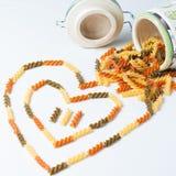 Heart-shaped макаронные изделия стоковое фото