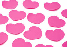 Heart shaped adhesive notes background Royalty Free Stock Photography