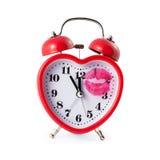Heart shaped alarm clock w Stock Photo