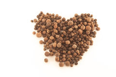Heart shaped allspice. Heart shaped brown allspice, on  white background Royalty Free Stock Photo