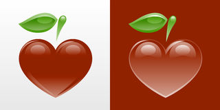 Heart-shaped apple. An emblem of a heart-shaped apple vector illustration