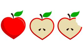 Heart Shaped Apple Fruit Vector Set in Three Steps Stock Photos