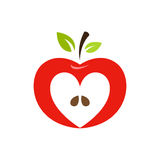 Heart shaped apple vector logo, label, emblem design. Royalty Free Stock Photo