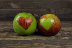 Heart shaped apples Royalty Free Stock Photography