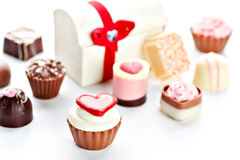Heart shaped assorted Chocolate Stock Photos