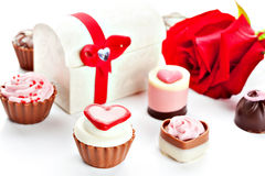 Heart shaped assorted Chocolate Stock Images