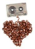 Heart shaped audio tape Stock Image