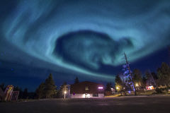 Heart Shaped Aurora Borealis Northern Lights. The Heart Shaped Northern Light Aurora Borealis in Finland Stock Photo
