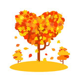 Heart shaped autumn tree. Fall love concept Royalty Free Stock Image