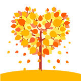 Heart shaped autumn tree. Fall love concept. Flat style vector illustration  on white background Stock Images