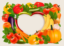 Heart shaped background made of vegetables and fruit. Royalty Free Stock Photos