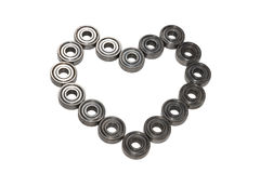 Heart shaped of ball bearings Royalty Free Stock Photos