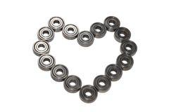 Heart shaped of ball bearings Royalty Free Stock Photos