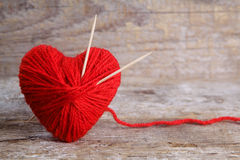 Heart-shaped ball of yarn Stock Image