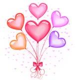 Heart-shaped Ballonblumenstrauß Stockfotografie