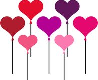 Heart-shaped ballons Stock Image