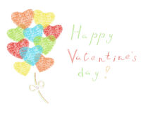 Heart shaped balloon. Illustration of greeting card for Sr. Valentines day Royalty Free Stock Images