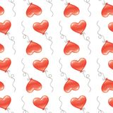 Heart shaped balloon seamless pattern. Royalty Free Stock Image