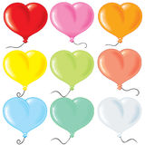 Heart shaped balloonrs. Inflated Heart - shaped balloons collection Stock Photography