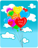 Heart shaped balloons. On the sky background Stock Image