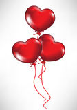 Heart shaped balloons. Three heart shaped balloons flying Royalty Free Stock Photos