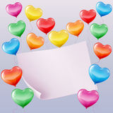Heart shaped balloons background. Colorful heart shaped balloons background with space for text Stock Photo