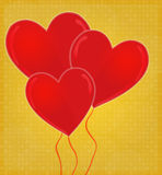 Heart-Shaped Balloons Card with Glossy Heart Golden Background Royalty Free Stock Image