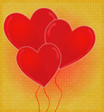 Heart-Shaped Balloons Card with Glossy Heart Red & Golden Background Royalty Free Stock Image